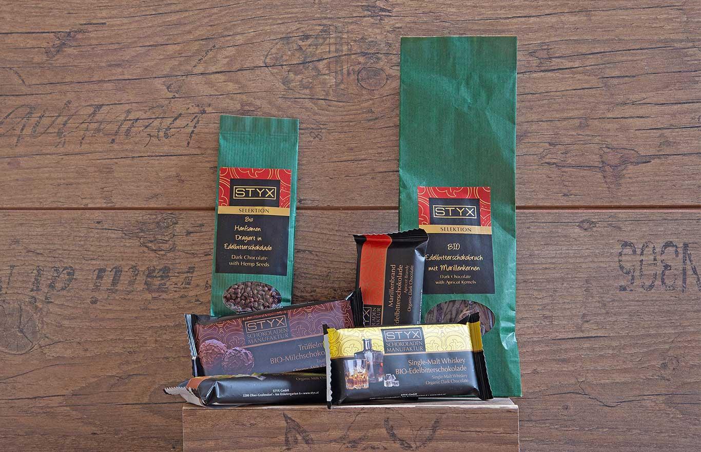 Erlesene Schokolade von Styks bei Mario Salvenmoser Tirol.